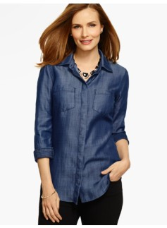 Long Slit-Back Denim Shirt- Dark Sea Wash
