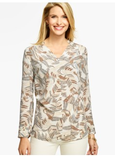 Fern-Print Silk Blouse