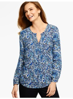 Pintucked Blouse - Blocked Paisley