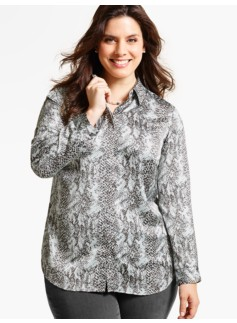 Drapey Textured Blouse - Animal Print