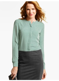 Houndstooth Band-Collar Blouse