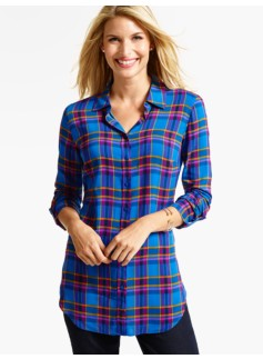 The Long Drapey Shirt - Fanciful Plaid