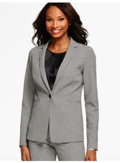 Abstract Herringbone Single-Button Blazer