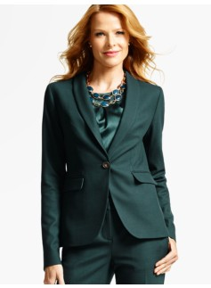 Luxe Wool Piqu� Single-Button Blazer