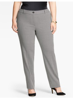 Abstract Herringbone Tailored Straight-Leg Pant