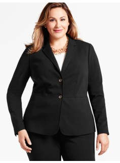 Womans Italian Luxe Knit Double-Button Blazer