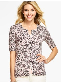 Elbow-Sleeve Charming Cardigan- Animal-Print