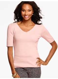 Double V-Neck Sweater with Tipping