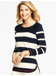Curved-Hem Sweater- Contrast-Tipped Stripes