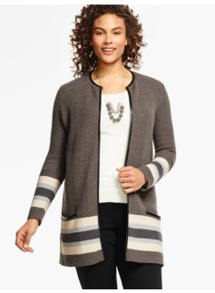Merino-Wool Border Striped Sweater Jacket