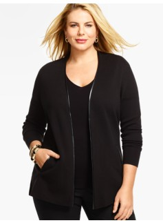 Faux Leather-Trimmed Milano Sweater Jacket
