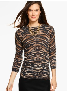 Cashmere Audrey Sweater - Animal Print