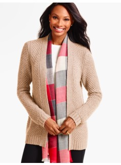Textured-Stitch Cashmere No-Close Cardigan