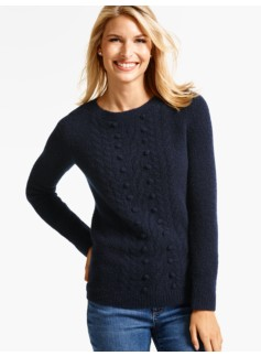 Cabled Boucl� Cashmere Sweater