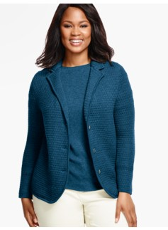Merino Wool Basket-Weave Sweater Jacket