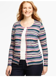 Long-Sleeve Charming Cardigan - Watercolor Stripes