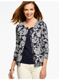 Long-Sleeve Charming Cardigan - Paisley Print