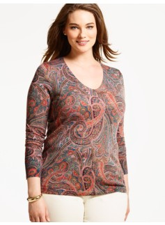 Merino Wool V-Neck Sweater - Sophisticated Paisley