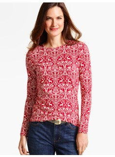 Long-Sleeve Crewneck Tee-Reindeer Damask