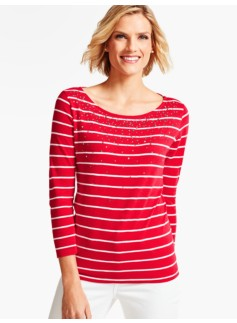 Three-Quarter-Sleeve Tee-Beaded Stripes
