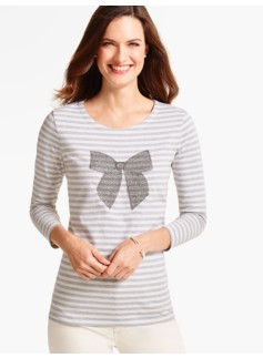 Three-Quarter-Sleeve Tee-Beaded-Bow Stripes