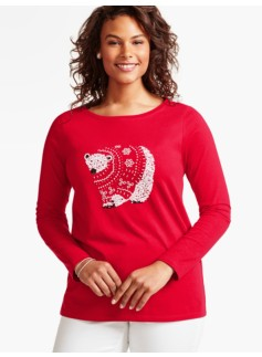 Long-Sleeve Holiday-Ready Tee-Beaded Polar Bear