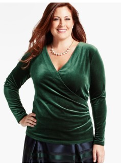 Velour Ruched-Wrap Top