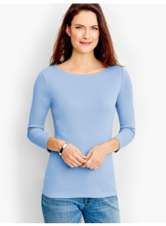 Pima Three-Quarter-Sleeve Bateau Neck Tee-The Talbots Tee