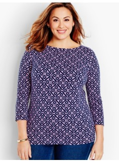 Three-Quarter-Sleeve Bateau Neck Tee-Geo Flowers - The Talbots Tee