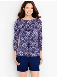 Three-Quarter-Sleeve Bateau Neck Tee-Geo Flowers