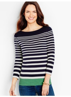 Three-Quarter-Sleeve Bateau Neck Tee - Marco Island Stripes-The Talbots Tee