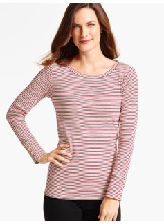 Gifford-Stripe Button-Cuff Tee