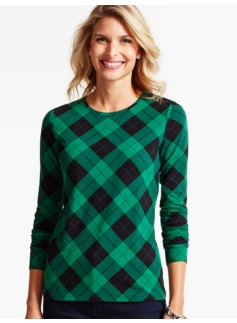 Long-Sleeve Crewneck Tee-Tartan Plaid