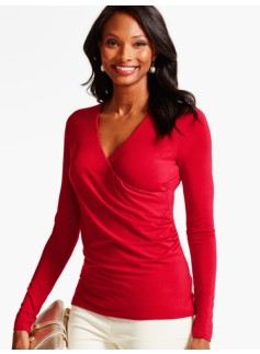 Ruched-Wrap Platinum Jersey Top
