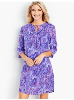 Purple Paisley Tie-Front Cover-Up