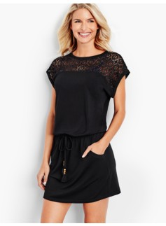 Eyelet Cinched-Waist Cover-Up