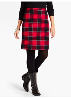 Plaid Wrap A-Line Skirt