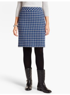 Stitched-Dot A-Line Skirt