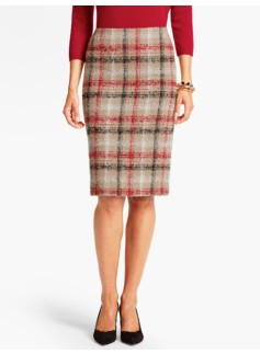 Plaid Boucl� Pencil Skirt