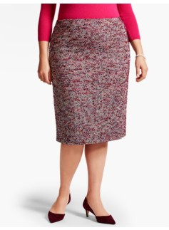 Boucle Herringbone Tweed Pencil Skirt