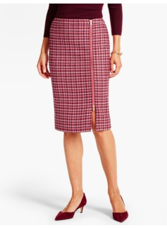 Snowflake Plaid Pencil Skirt