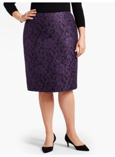 Floral Scroll Pencil Skirt