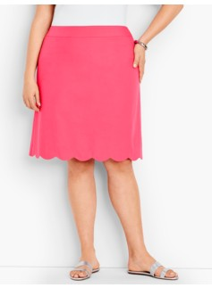 Scalloped-Hem Canvas Skirt