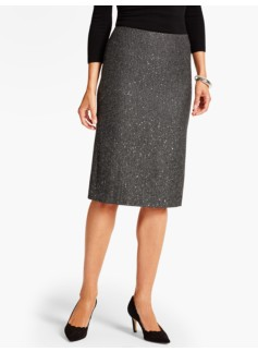 Sequin Tweed Pencil Skirt