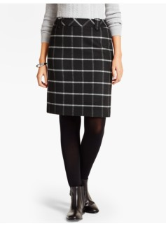 Windowpane-Plaid A-Line Skirt