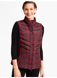 Chevron-Quilted Puffer Vest-Plaid