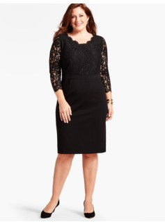 Winter Flower Lace-Blocked Ponte Dress