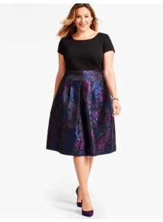 Ponte-Blocked Rose Jacquard Dress