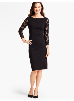 Floral Lace & Ponte Sheath Dress