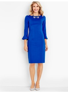 Flounced-Sleeve Ponte Sheath Dress
